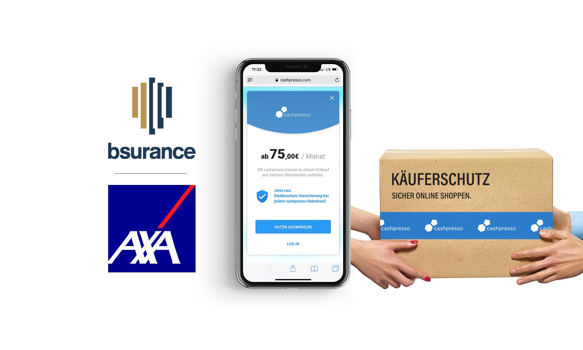 bsurance kooperiert mit AXA Partners und cashpresso